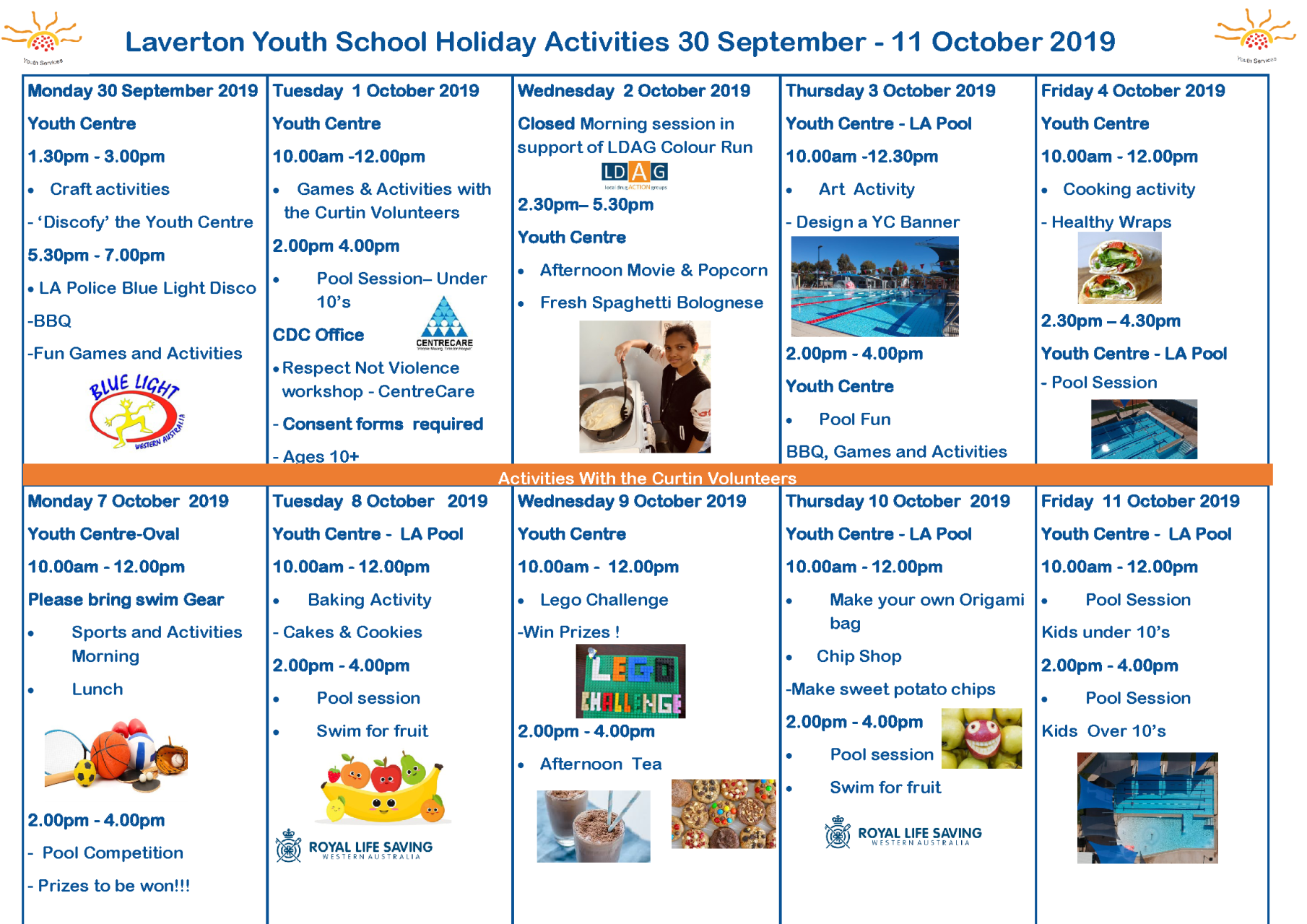 School Holiday Youth Centre Activities