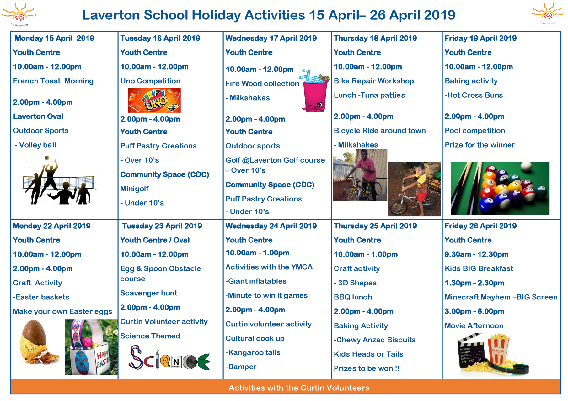 School Holiday Youth Activities April 2019