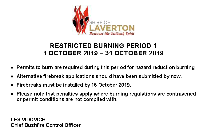 Restricted Burning Period 1 - From 1-31 Oct 2019