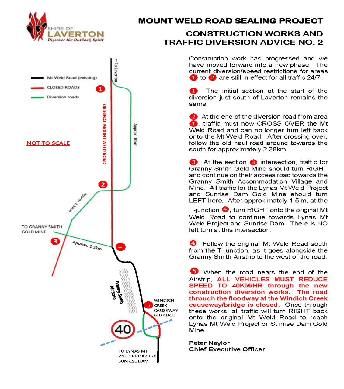 Mt Weld Construction/Diversion Advice No. 2