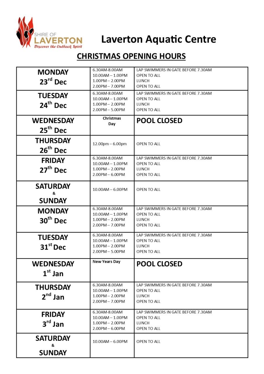 Holiday Opening Hours - Pool